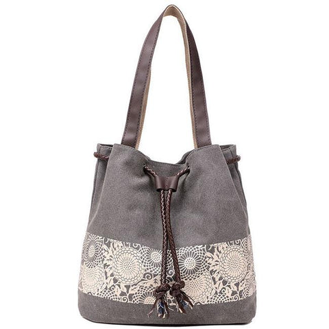 Retro Flowers Printing Draw String Shoulder Bag  Girl's Canvas National Style Shopping Handbag
