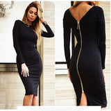 Fashion Sexy Slim Halter Zipper Dress - wikoco.com