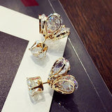 Shining  Women's Gold Silver Plated Alloyed Glowworm Crystal Diamond-bordered Petaloid Earring Studs