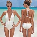 One-piece Swimsuit Swimwear Bikini Set Backless Folk Bathingsuit-White - wikoco.com
