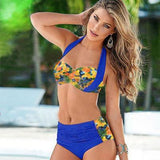 Pineapple Printed Contrasting Color Bikini Plus Fertilizer Swimsuit Swimwear - wikoco.com