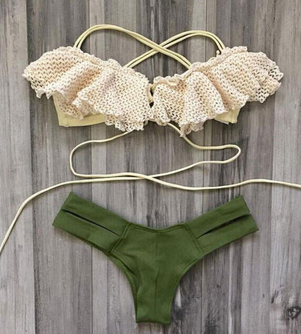 Hot Sexy Swimsuit Swimwear Exquisite Lace Green Triangle Bikini - wikoco.com