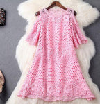 Handmade Beading Crochet Lace Strapless Dress Party Dress-Pink - wikoco.com