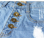 New HoleTassel High Waist More Buttons Denim Shorts Jeans Plus Size Wonmen Shorts - wikoco.com