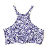 wikoco.com Blue chrysanthemum Athletic Printing Bikini SEt Swimsuit Swimwear Bathingsuit - wikoco.com