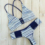 Fashion Stripe Cross Bikini Swimsuit Straps Swimwear Bathingsuit - wikoco.com