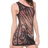 Sexy Fishnet One Shoulder Women's Chemise See Through Lingerie