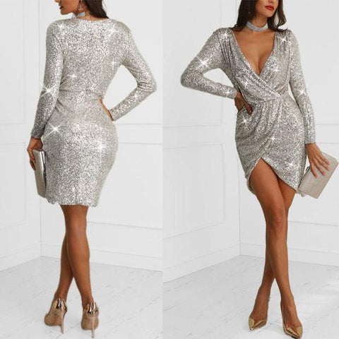Sexy Sequin Long Deep V Exposed Sleeve Night Club Party Dress