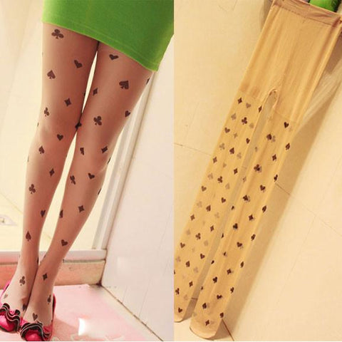 Tatoo Printed Constellation Poker Silk Stockings