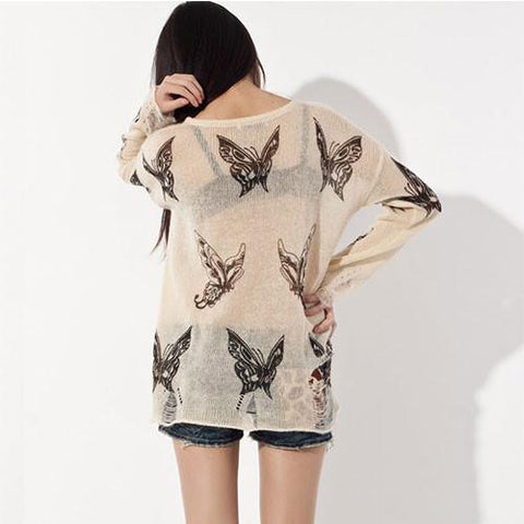 Sexy Butterfly Printed  Frayed Knit &Sweater - wikoco.com