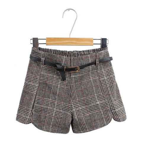 Retro Plaid High Waist Woolen Shorts - wikoco.com