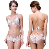 Sexy Lace Hollow Flower Tie Bow Bra Set Underwear Women Sling Lingerie