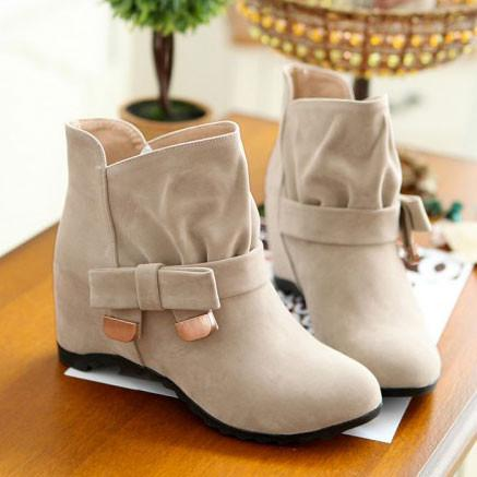 Elegant Increasing Shoes Bowknot Knot Buckle Martin Boots - wikoco.com