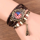 Vintage American Flag Leather Strap Wrist Watches Rope Weave Eiffel Tower Bracelet Watch