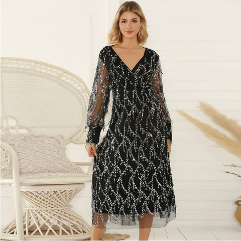 Fashion Sexy Black V-neck Long Sleeve Tassel Sequin Party Dress