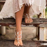 Cute Bohemian Ethnic Hand-made Feet Accessory Summer Diamonds Drop Tassel Anklets - wikoco