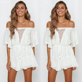 Sexy White Hollow Off-The-Shoulder Mid Sleeve Dress Romper - wikoco