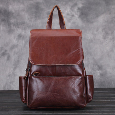 Retro Elegant New Oil Wax Leather School Bag Cowhide Handmade Original Lady Backpack