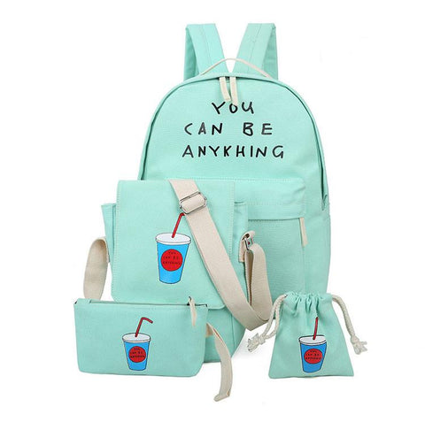 Fresh Printing Letters Schoolbag Four Set Travel Bag Canvas Backpack