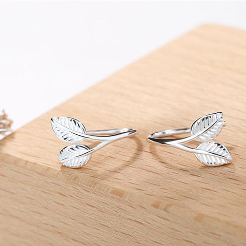 Fresh Silver Female Student Gift Forest Delicate Leaves Earrings Studs - wikoco