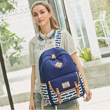 Fresh USB Interface Dot Double Buckle Canvas College Large Backpack Stripe High School Bag