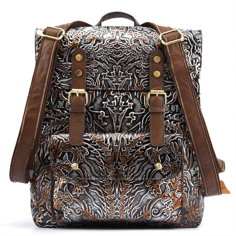 Retro Embossing Totem School Backpack Original Double Buckle Student Backpack