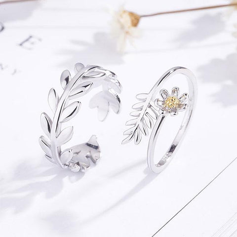 Romantic  Branch Feather Flower Opening Sweet Silver Leaves Couple Rings - wikoco