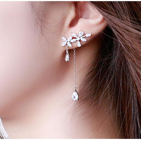 Cute Fringed Flower Zircon Drop Girl Tassel Silver Earrings Studs - wikoco