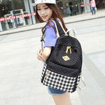 Fashion School Girl's Canvas Wave Point Splicing Black White Plaid Large Capacity Travel Backpack