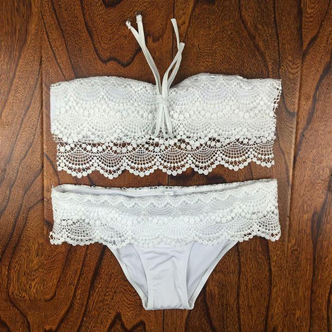 Sexy Lace Crochet Bikini Set Swimwear Swimsuit Bathingsuit