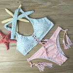 Fringed Bikini Bandage Swimwear Split  Lace Up  Swimsuit  Pink Bathingsuit - wikoco.com