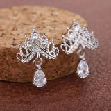 Shining Crown Earrings Wild Ear Jewelry Diamond Zircon Drop Earrings Studs