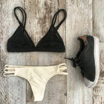 Sexy Black And Cream Bikini Swimsuit Swimwear Bathingsuit