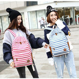 Sweet College Striped Student Rucksack Leisure Travel Canvas Backpack