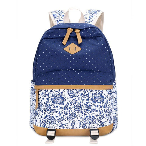 Vintage Fresh Floral Polka Dot Canvas Travel Backpack Leisure Backpack&Schoolbag