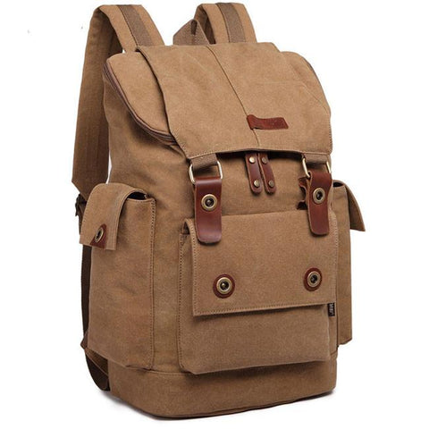 Retro Travel Rucksack Splicing Leather Belts School Laptop Men's Canvas Large Capacity Outdoor Backpack