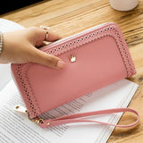 Fresh Girl's PU Hollow Dents Crown Lace Purse Card Wallet Clutch bag