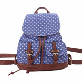Star Printing  Schoolbag Backpack Blue Canvas Travel Backpack