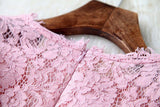 Sweet Crochet Hollow out Pink Lace Dress &Party Dress