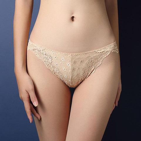 Sexy Transparent Panties Women Luxury Flower Lace Underwear Intimate Lingerie