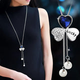 Fashion Cloverleaf Shape Crystal  Sweater Chain Diamond-bordered Plastic Pearl Pendant Necklace