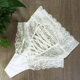 Sexy Women's Lace Cross Straps Mesh See Through Hollowed-out High-waist Lady Briefs Underwear Lingerie