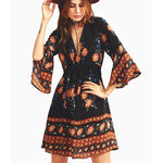 Women's V-neck Three-quarter Length Trumpet sleeves National Style Printing Dress