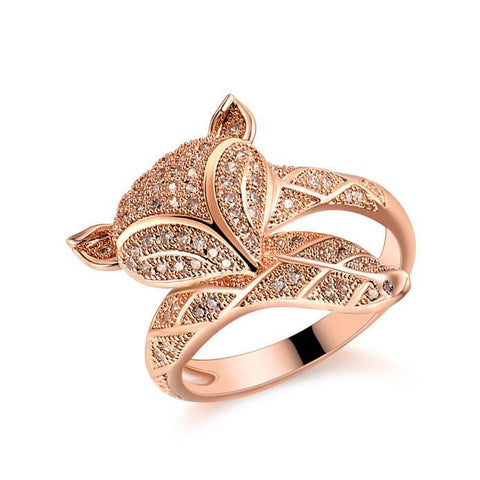 Cute Fox Lover Silver Rose Gold Animal Diamond Open Ring