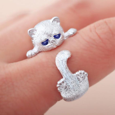 Crystal Blue Eyes Cat As the Circulai Ring Cat Around Finger Silver Open Ring