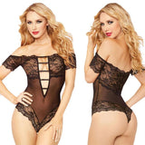 Sexy Hollow Deep V Temptation Perspective Conjoined Lace Coveralls Intimate Lingerie - wikoco
