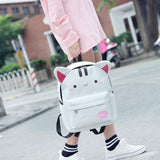 Cute Rabbit Ear Cartoon Junior School Rucksack Shame Cat Student Bag Backpack - wikoco