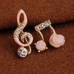 Unique Unsymmetrical Music Notes Solid Flower Shining Women's Earring Studs