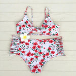 Floral Printed Bikini Multi Rope Swimsuit High Waist Summer Bathingsuit