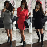 Hooded Hip long - sleeved Three - color Sweater Slim Dress